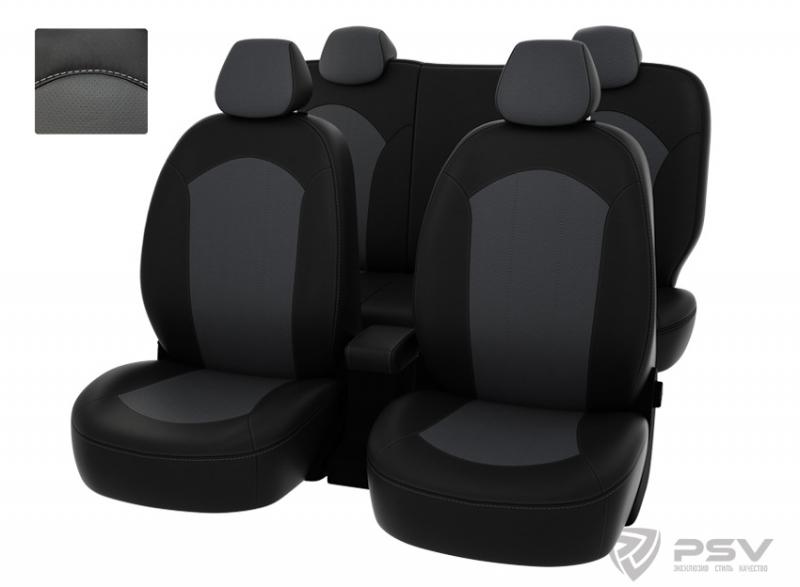 """Чехлы Hyundai Solaris 11->S чер-сер экокожа """"Оригинал"""", 122063"""