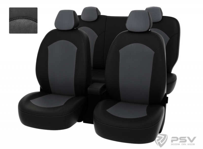 """Чехлы Hyundai Solaris 11-> H черная экокожа + серая алькантара """"Оригинал"""", 127065"""