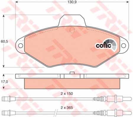 Колодки дисковые Передние, TRW, GDB1101