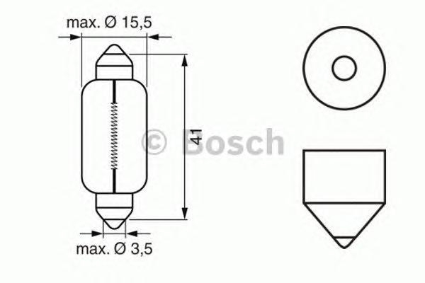 Лампа Pure Light, 12 В, 21 Вт, C21W, SV8,5-8, BOSCH, 1 987 302 230