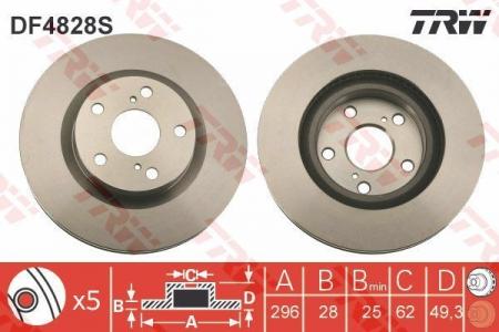 Диск тормозной передний, TRW, DF4828S