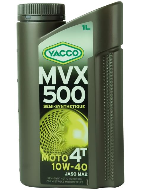 Масло для мотоциклов с 4-тактными двигателями YACCO MVX 500 4T п/синт. 10W40, SL (1 л)