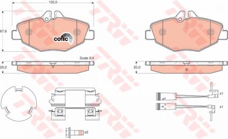 Колодки дисковые Передние, TRW, GDB1542