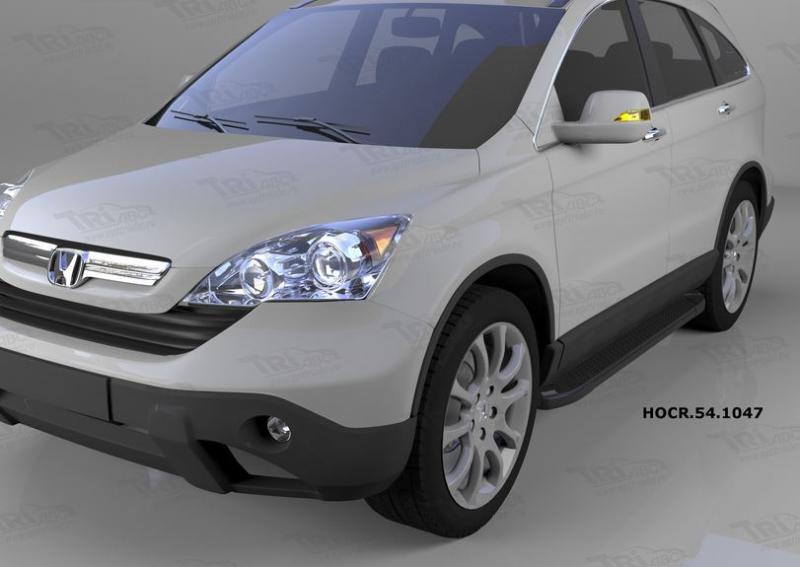 Пороги алюминиевые (Sapphire Black) Honda (Хонда) CR-V (2007-2012), HOCR541047
