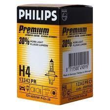 Лампа, 12 В, 60/55 Вт, H4, P43t-38, PHILIPS, 12342 PR