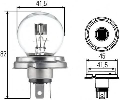 Лампа, 24 В, 55/50 Вт, R2, P45t, HELLA, 8GD 002 088-251
