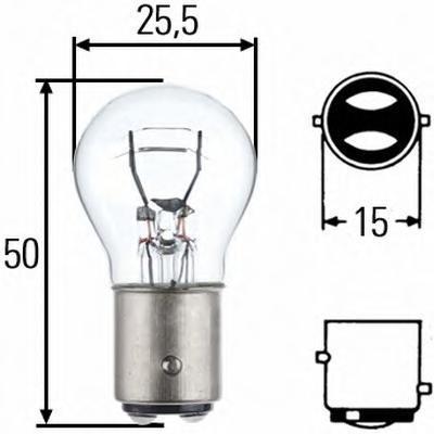 Лампа, 24 В, 21/5 Вт, P21/5W, BAY15d, HELLA, 8GD 002 078-241