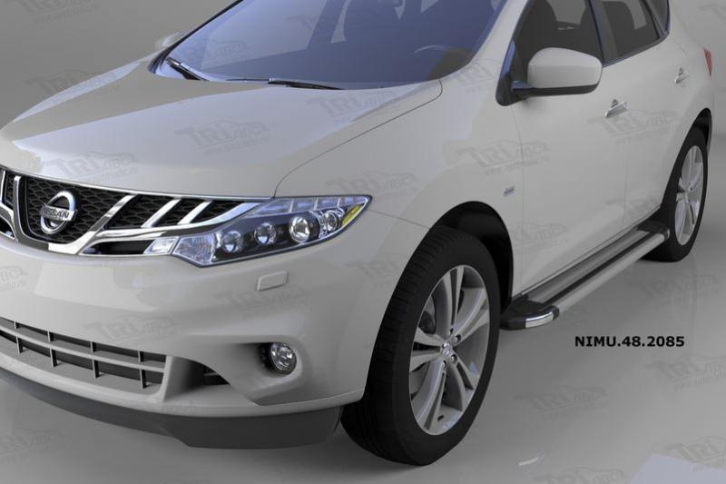 Пороги алюминиевые (Brillant) Nissan Murano (2008-) (серебр), NIMU482085