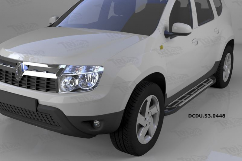 Пороги алюминиевые (Corund Silver) Renault Duster (Рено Дастер) (2012-) / Nissan Terrano (2014-), DC