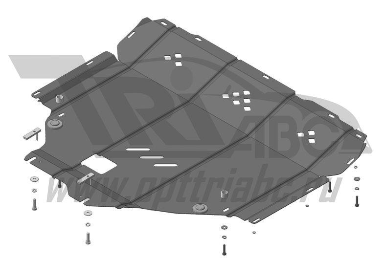 Защита картера двигателя, КПП Suzuki SX4 2013- V=1,6i/Suzuki Vitara 2015- V=1,6i (сталь 2 мм), MOTOD