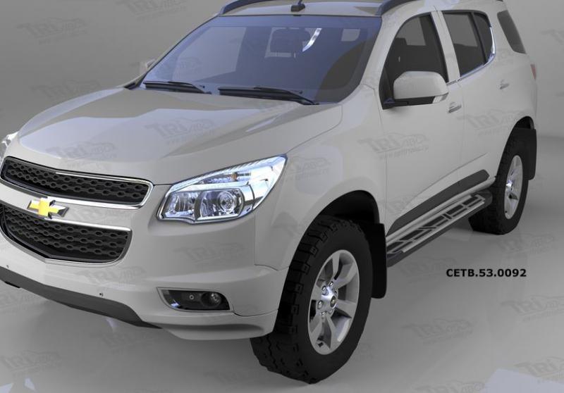 Пороги алюминиевые (Corund Silver) Chevrolet TrailBlazer (2013-), CETB530092
