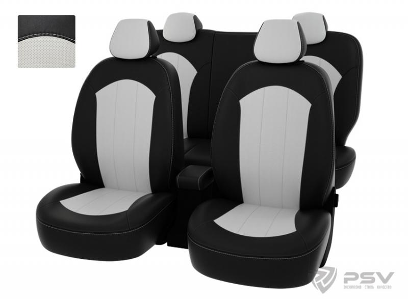 """Чехлы Hyundai Solaris 11-> H чер-бел экокожа """"Оригинал"""", 124380"""