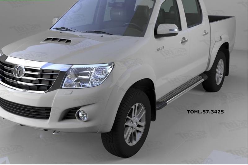 Пороги алюминиевые (Topaz) Toyota HiLux (2012-2015), TOHL573425