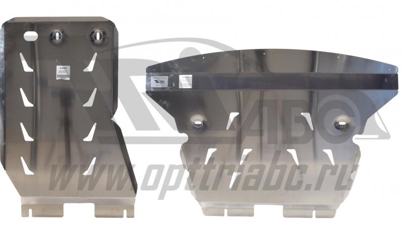 Защита картера двигателя и кпп BMW X1 задний привод V-1,8 (2011-) из 2-х частей (Алюминий 4 мм), 340