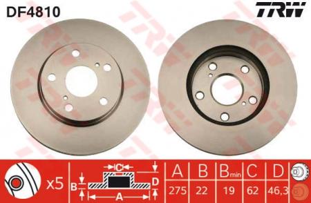 Диск тормозной передний, TRW, DF4810