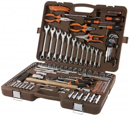 """OMT131S Универсальный набор инструмента торцевые головки 1/4"""", 3/8"""", 1/2""""DR 4-32 мм, E4-Е24, аксессуары к ним, комбинированные ключи 8-19 мм, 131 предмет"""