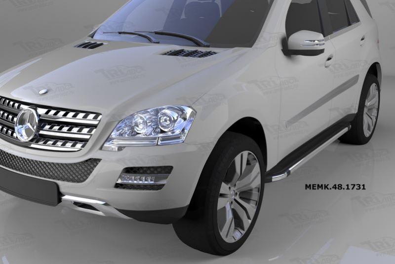 Пороги алюминиевые (Brillant) Mercedes ML W164 (2006-2011) (черн/нерж), MEMK481731