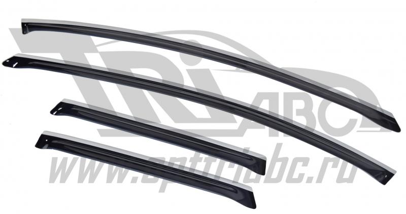Дефлекторы боковых окон Mazda (Мазда) CX-7 (2006-) (темный с серебристой полосой) (4части), SMACX706