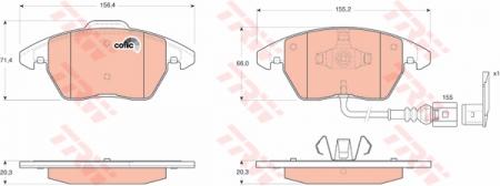 Колодки дисковые Передние, TRW, GDB1550