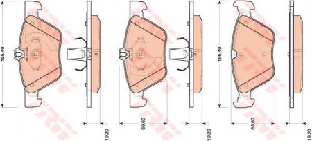 Колодки дисковые Передние, TRW, GDB1815