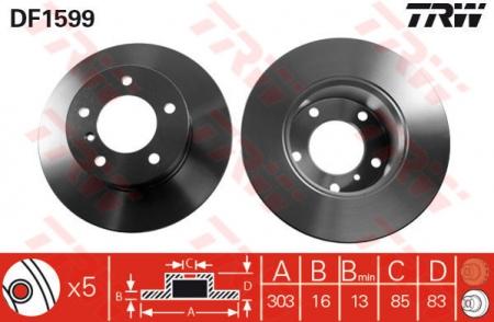 Диск тормозной передний, TRW, DF1599