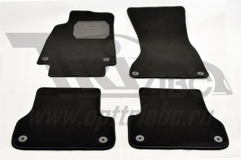 Коврики салона текстильный Audi A6 (2013) (Велюр, полиамид)(подпятник п/у)(черные), NPA00VTE050400A