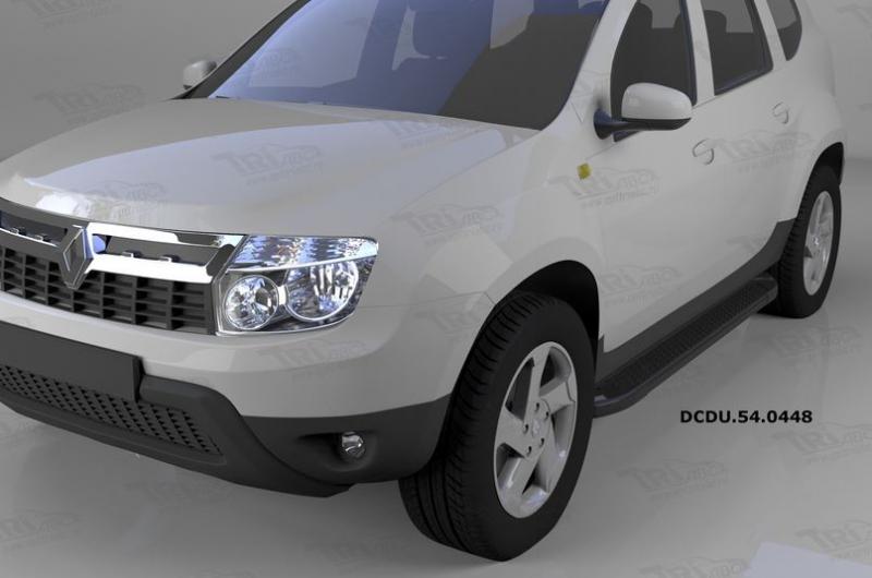 Пороги алюминиевые (Sapphire Black) Renault Duster (Рено Дастер) (2012-) / Nissan Terrano (2014-), D
