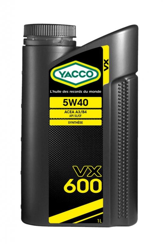 Масло моторное YACCO VX 600 синт. 5W40,SL/CF (1 л)