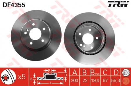 Диск тормозной передний, TRW, DF4355