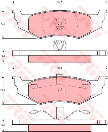 Колодки дисковые Задние, TRW, GDB1234