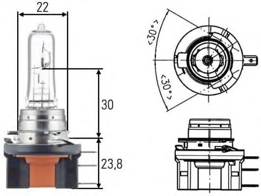 Лампа, 24 В, 20/60 Вт, H15, HELLA, 8GJ 168 119-241