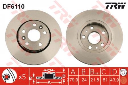 Диск тормозной передний, TRW, DF6110