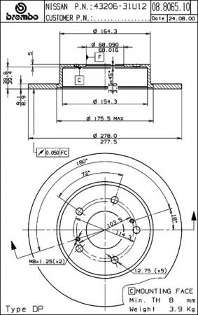 Диск тормозной задний, BREMBO, 08806514