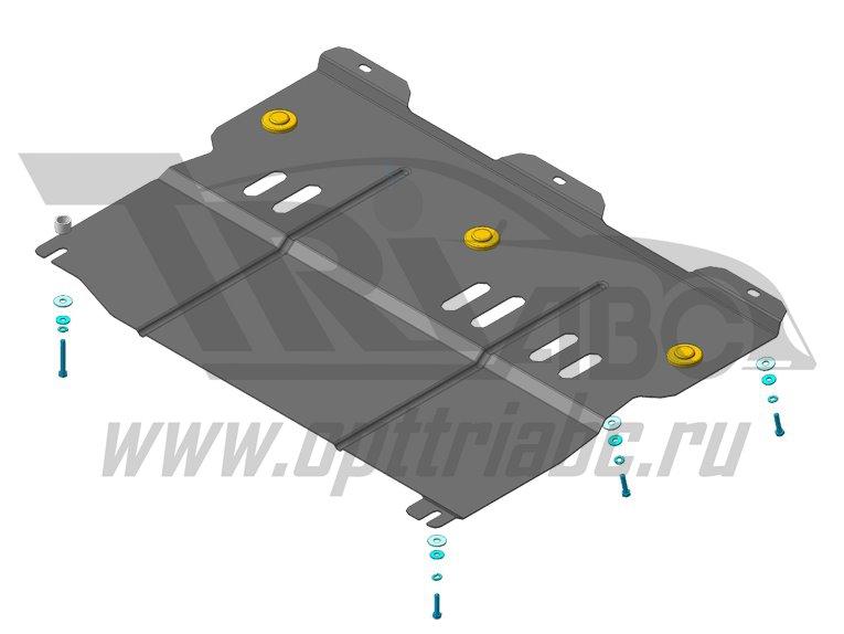 Защита картера двигателя, КПП Renault Latitude 2010- V=2,5i (сталь 2 мм), MOTODOR61705
