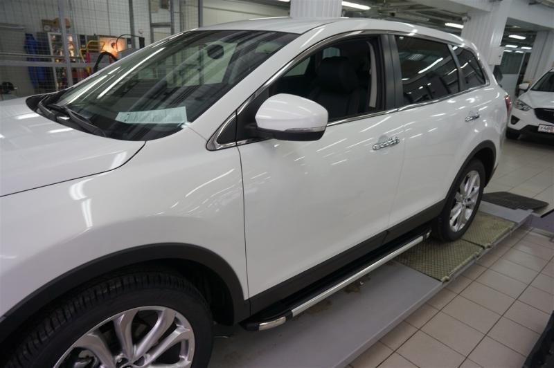 Пороги алюминиевые (Brillant) Mazda (Мазда) CX9 (2013-) (черн/нерж), MAC9480128