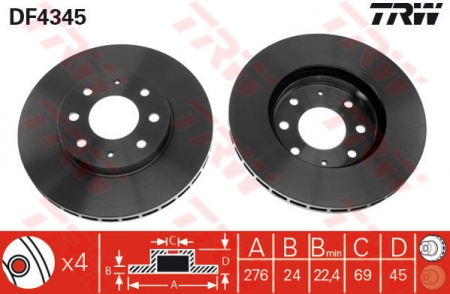 Диск тормозной передний, TRW, DF4345