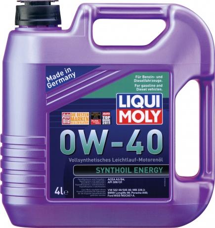 LiquiMoly 0W40 Synthoil Energy (4L) масло мотор.!син.\API SM/CF,ACEA A3/B4,VW 502.00/505.00,MB 229.3
