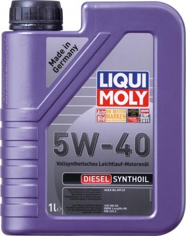 LiquiMoly 5W40 Diesel Synthoil (1L) масло мотор.!син.\API CF,ACEA B4-04: MB 229.3,BMW LL-98,VW505.00