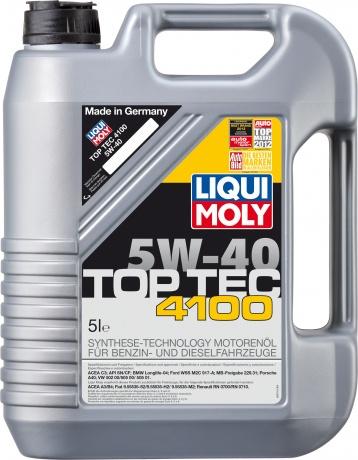 LiquiMoly 5W40 Top Tec 4100 (5L) масло мотор.!син.\API SM/CF,ACEA A3-04/B4-04/C3-04:VW,MB229.31,BMW