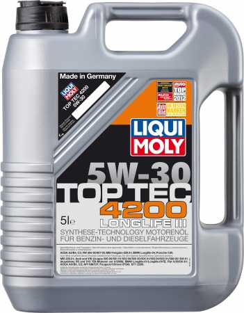 LiquiMoly 5W30 Top Tec 4200 (5L) масло мотор.!син.\ACEA A3-04/B4-04/C3-04:VW,MB229.51,BMW,PorscheC30