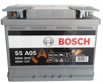 Аккумуляторная батарея Bosch S5 AGM, 12 В, 60 А/ч, 680 А, 0092S5A050