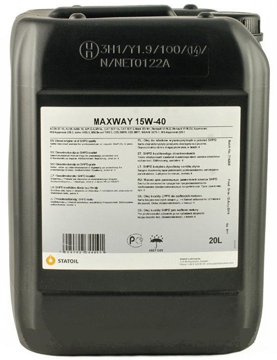 Моторное масло STATOIL Maxway, 15W-40, 20л, 1001014