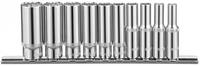 """Набор торцевых 12-гранных глубоких головок 1/4""""DR, SAE 3/16""""-9/16"""", 10 предметов на держателе. OMBRA"""