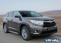 "Порог-площадка ""Bmw-Style"" B173AL + комплект крепежа, RIVAL, Toyota Highlander 2007-2010-2014"